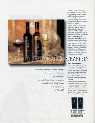 Castelletto Wine ad / Backcover - South Coast Wine, May - June 1997